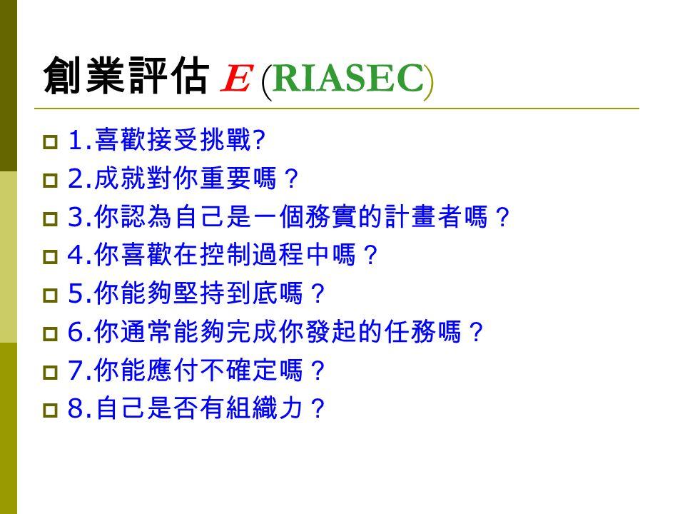 創業評估 E (RIASEC)  1. 喜歡接受挑戰 .  2. 成就對你重要嗎?  3.