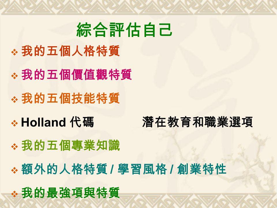 綜合評估自己  我的五個人格特質  我的五個價值觀特質  我的五個技能特質  Holland 代碼 潛在教育和職業選項  我的五個專業知識  額外的人格特質 / 學習風格 / 創業特性  我的最強項與特質