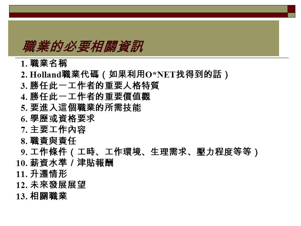 職業的必要相關資訊 1. 職業名稱 2. Holland 職業代碼(如果利用 O*NET 找得到的話) 3.