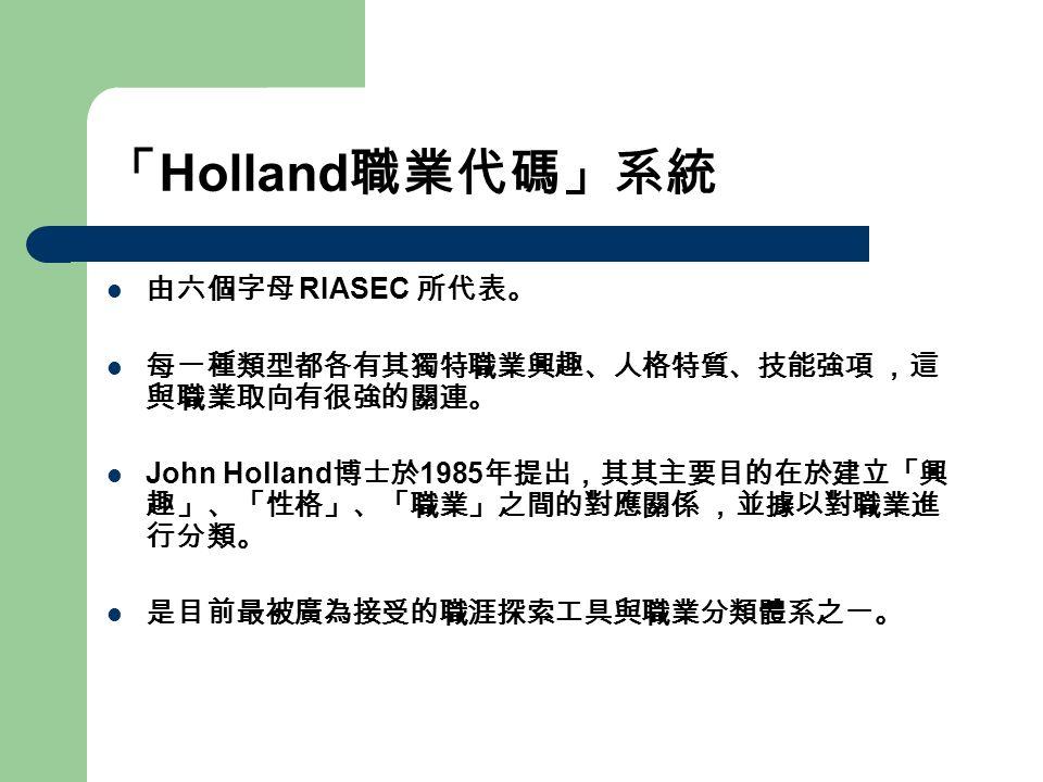 「 Holland 職業代碼」系統 由六個字母 RIASEC 所代表。 每一種類型都各有其獨特職業興趣、人格特質、技能強項 ,這 與職業取向有很強的關連。 John Holland 博士於 1985 年提出,其其主要目的在於建立「興 趣」、「性格」、「職業」之間的對應關係 ,並據以對職業進 行分類。 是目前最被廣為接受的職涯探索工具與職業分類體系之一。