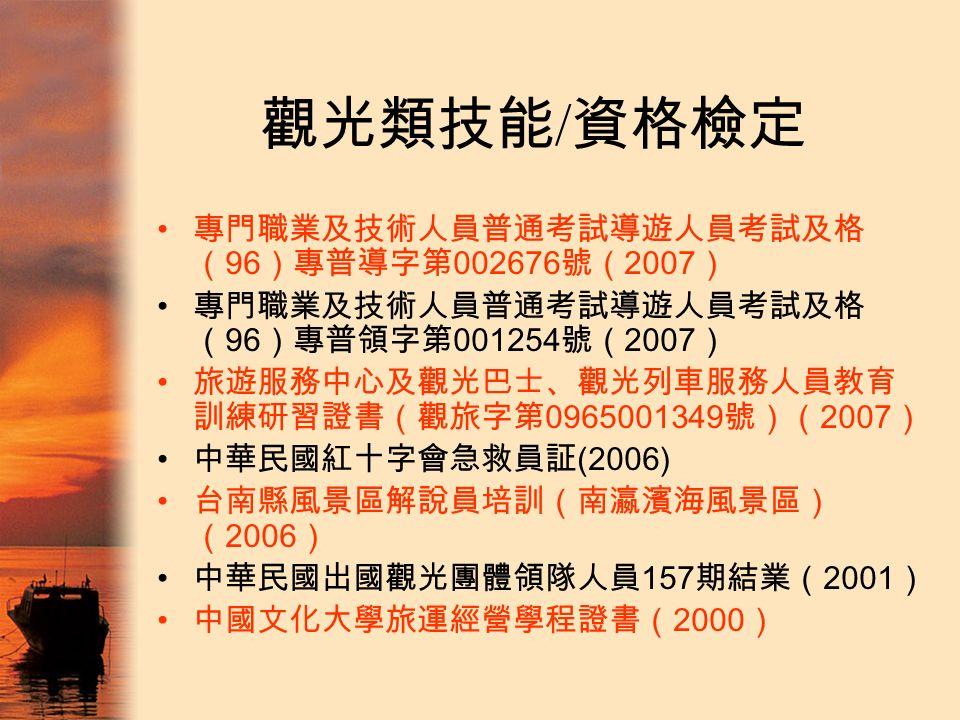 觀光類技能 / 資格檢定 專門職業及技術人員普通考試導遊人員考試及格 ( 96 )專普導字第 002676 號( 2007 ) 專門職業及技術人員普通考試導遊人員考試及格 ( 96 )專普領字第 001254 號( 2007 ) 旅遊服務中心及觀光巴士、觀光列車服務人員教育 訓練研習證書(觀旅字第 0965001349 號)( 2007 ) 中華民國紅十字會急救員証 (2006) 台南縣風景區解說員培訓(南瀛濱海風景區) ( 2006 ) 中華民國出國觀光團體領隊人員 157 期結業( 2001 ) 中國文化大學旅運經營學程證書( 2000 )