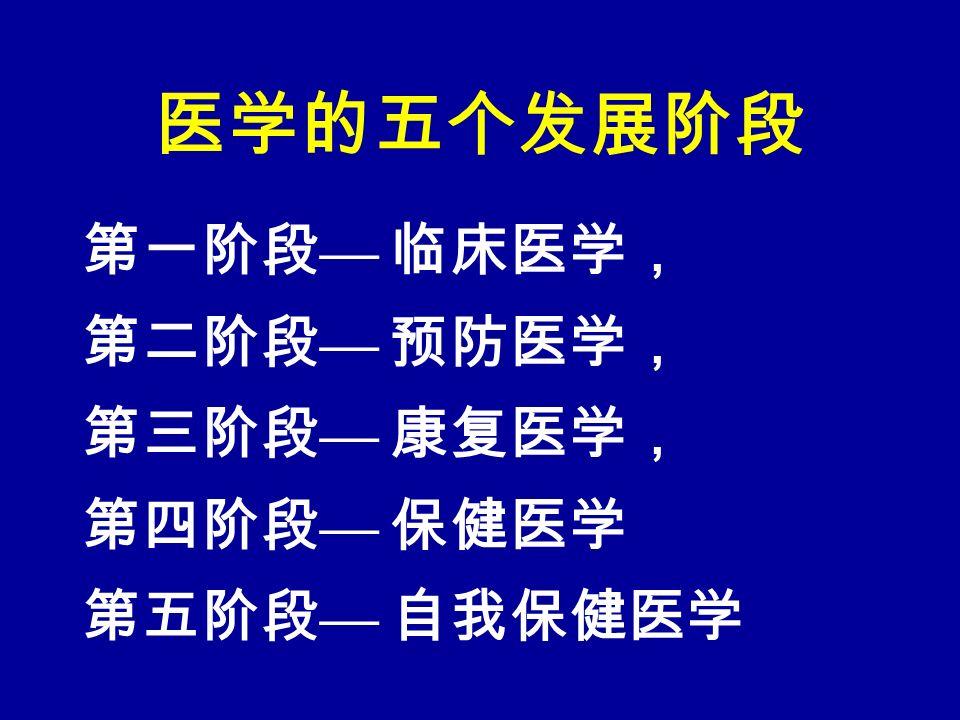 医学的五个发展阶段 第一阶段 — 临床医学, 第二阶段 — 预防医学, 第三阶段 — 康复医学, 第四阶段 — 保健医学 第五阶段 — 自我保健医学