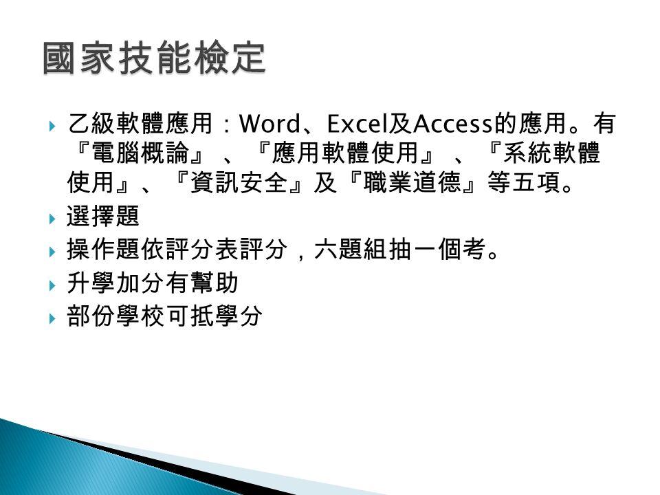  乙級軟體應用: Word 、 Excel 及 Access 的應用。有 『電腦概論』 、『應用軟體使用』 、『系統軟體 使用』、『資訊安全』及『職業道德』等五項。  選擇題  操作題依評分表評分,六題組抽一個考。  升學加分有幫助  部份學校可抵學分