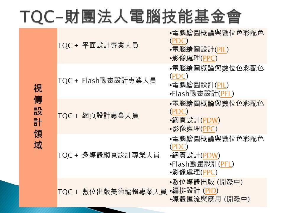 視傳設計領域視傳設計領域 TQC + 平面設計專業人員 電腦繪圖概論與數位色彩配色 (PDC)PDC 電腦繪圖設計 (PIL)PIL 影像處理 (PPC)PPC TQC + Flash 動畫設計專業人員 電腦繪圖概論與數位色彩配色 (PDC)PDC 電腦繪圖設計 (PIL)PIL Flash 動畫設計 (PFL)PFL TQC + 網頁設計專業人員 電腦繪圖概論與數位色彩配色 (PDC)PDC 網頁設計 (PDW)PDW 影像處理 (PPC)PPC TQC + 多媒體網頁設計專業人員 電腦繪圖概論與數位色彩配色 (PDC)PDC 網頁設計 (PDW)PDW Flash 動畫設計 (PFL)PFL 影像處理 (PPC)PPC TQC + 數位出版美術編輯專業人員 數位媒體出版 ( 開發中 ) 編排設計 (PID)PID 媒體匯流與應用 ( 開發中 )