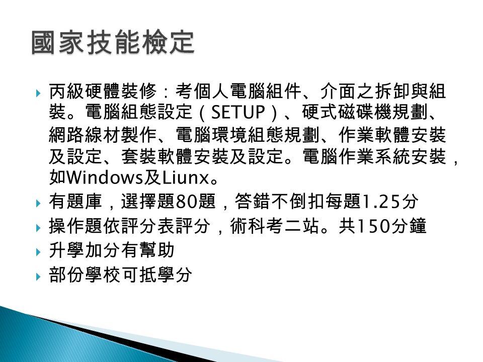  丙級硬體裝修:考個人電腦組件、介面之拆卸與組 裝。電腦組態設定( SETUP )、硬式磁碟機規劃、 網路線材製作、電腦環境組態規劃、作業軟體安裝 及設定、套裝軟體安裝及設定。電腦作業系統安裝, 如 Windows 及 Liunx 。  有題庫,選擇題 80 題,答錯不倒扣每題 1.25 分  操作題依評分表評分,術科考二站。共 150 分鐘  升學加分有幫助  部份學校可抵學分