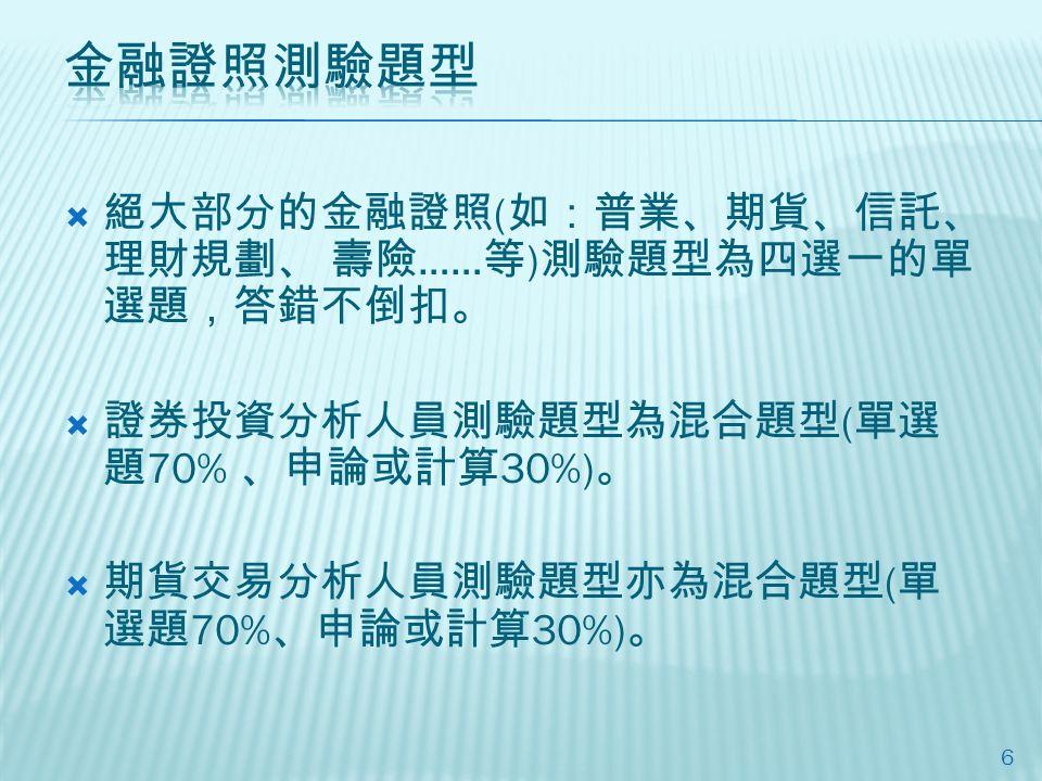  絕大部分的金融證照 ( 如:普業、期貨、信託、 理財規劃、 壽險 …… 等 ) 測驗題型為四選一的單 選題,答錯不倒扣。  證券投資分析人員測驗題型為混合題型 ( 單選 題 70% 、申論或計算 30%) 。  期貨交易分析人員測驗題型亦為混合題型 ( 單 選題 70% 、申論或計算 30%) 。 6