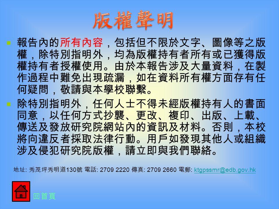 首先,我們十分感謝香港教育學院校友會 和公民教育委員會舉辦這次的比賽,讓我們 能夠發揮個人的潛能和創意。 還要感謝學校裏的老師和工作人員-何潔 雯主任、鄭逸輝老師和 RICKY 哥哥,教導我 們如何運用電腦做專題報告和進行拍攝工作, 令專題研習不再是枯燥、乏味、死板的紙筆 報告,而是創意無限 …… 可以是有趣的話劇、 專業的訪問 …… 令我們眼界大開,增值不少 。