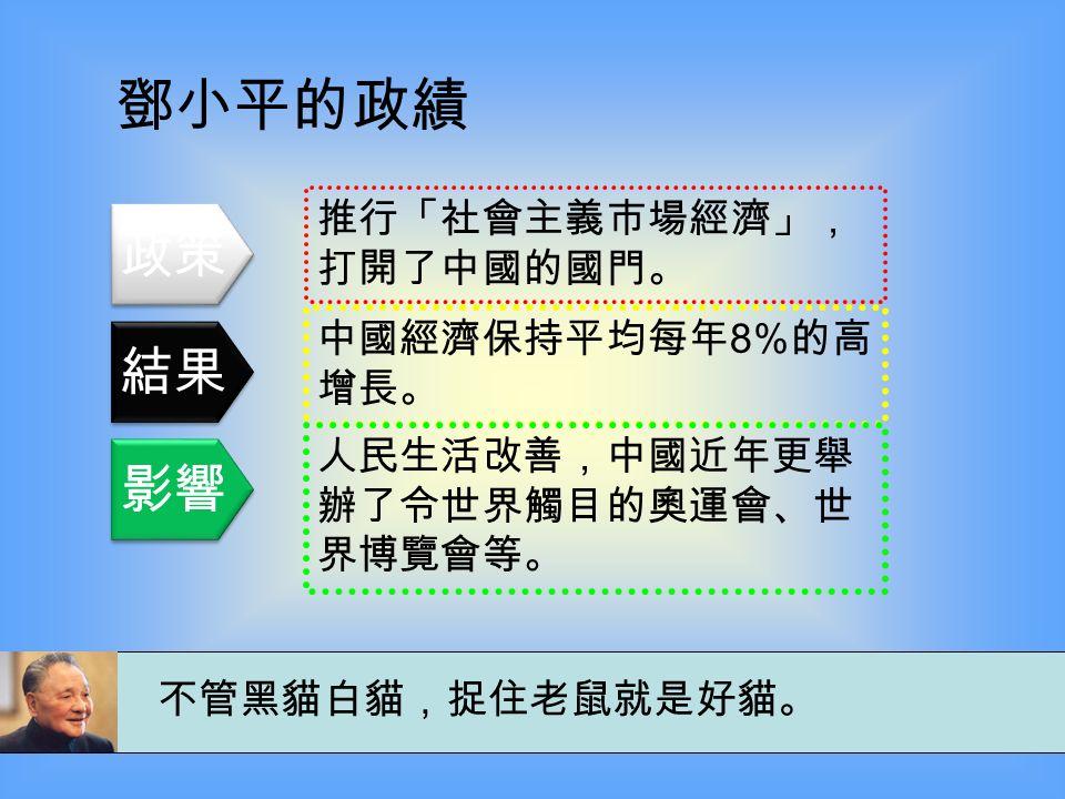 鄧小平的政績 主張改革開放,把中國推入現 代化之路 。 在 1979 年至 1993 年的改革是 任何時期對人類福利的最大提 高 。 影響了億萬人,並確實提高了 中國人民的生活水平。 改革是中國的第二次革命。這是一件很重 要的必須做的事,盡管是有風險的事。 政策 結果 影響