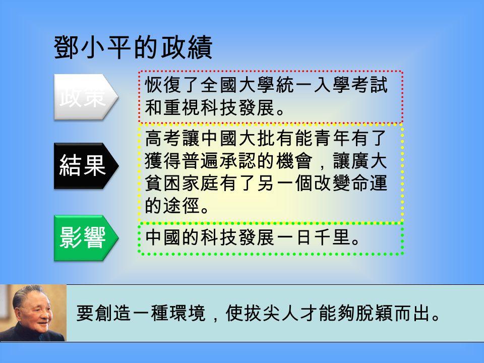 鄧小平的政績 推行「社會主義市場經濟」, 打開了中國的國門。 中國經濟保持平均每年 8% 的高 增長。 人民生活改善,中國近年更舉 辦了令世界觸目的奧運會、世 界博覽會等。 不管黑貓白貓,捉住老鼠就是好貓。 政策 結果 影響