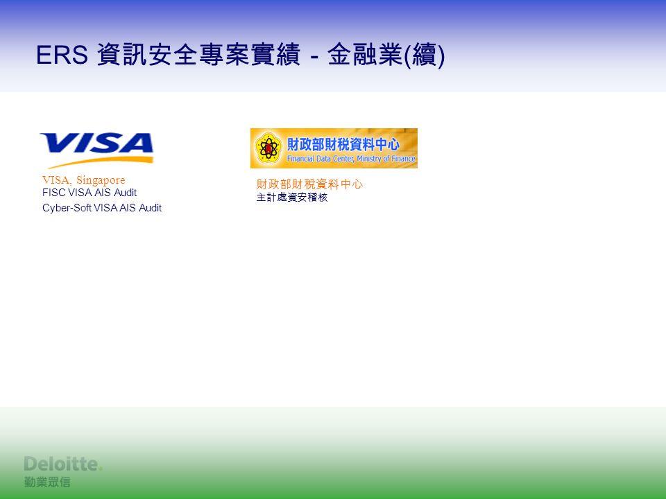 ERS 資訊安全專案實績 - 金融業 ( 續 ) VISA, Singapore FISC VISA AIS Audit Cyber-Soft VISA AIS Audit 財政部財稅資料中心 主計處資安稽核