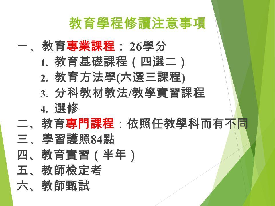 教育學程修讀注意事項 一、教育專業課程: 26 學分 1. 教育基礎課程(四選二) 2. 教育方法學 ( 六選三課程 ) 3.