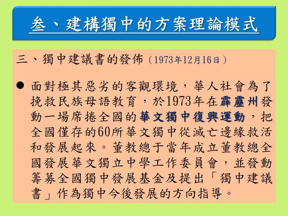 叁、建構獨中的方案理論模式叁、建構獨中的方案理論模式 三、獨中建議書的發佈 (1973年12月16日) 霹靂州 華文獨中復興運動 面對極其惡劣的客觀環境,華人社會為了 挽救民族母語教育,於1973年在霹靂州發 動一場席捲全國的華文獨中復興運動,把 全國僅存的60所華文獨中從滅亡邊緣救活 和發展起來。董教總于當年成立董教總全 國發展華文獨立中學工作委員會,並發動 籌募全國獨中發展基金及提出「獨中建議 書」作為獨中今後發展的方向指導。