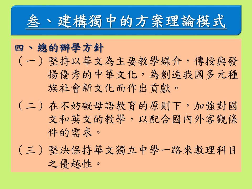 叁、建構獨中的方案理論模式叁、建構獨中的方案理論模式 四、總的辦學方針 (一)堅持以華文為主要教學媒介,傳授與發 揚優秀的中華文化,為創造我國多元種 族社會新文化而作出貢獻。 (二)在不妨礙母語教育的原則下,加強對國 文和英文的教學,以配合國內外客觀條 件的需求。 (三)堅決保持華文獨立中學一路來數理科目 之優越性。