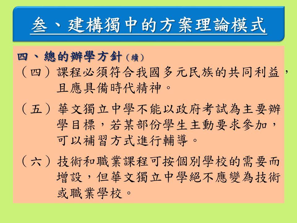 叁、建構獨中的方案理論模式叁、建構獨中的方案理論模式 四、總的辦學方針 (續) (四)課程必須符合我國多元民族的共同利益, 且應具備時代精神。 (五)華文獨立中學不能以政府考試為主要辦 學目標,若某部份學生主動要求參加, 可以補習方式進行輔導。 (六)技術和職業課程可按個別學校的需要而 增設,但華文獨立中學絕不應變為技術 或職業學校。