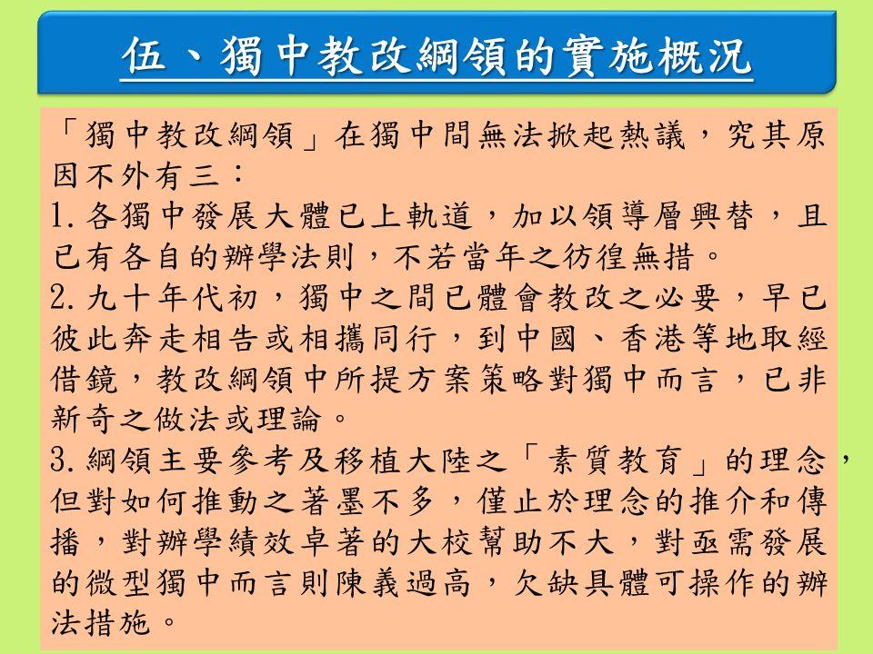 伍、獨中教改綱領的實施概況 「獨中教改綱領」在獨中間無法掀起熱議,究其原 因不外有三: 1.各獨中發展大體已上軌道,加以領導層興替,且 已有各自的辦學法則,不若當年之彷徨無措。 2.九十年代初,獨中之間已體會教改之必要,早已 彼此奔走相告或相攜同行,到中國、香港等地取經 借鏡,教改綱領中所提方案策略對獨中而言,已非 新奇之做法或理論。 3.綱領主要參考及移植大陸之「素質教育」的理念, 但對如何推動之著墨不多,僅止於理念的推介和傳 播,對辦學績效卓著的大校幫助不大,對亟需發展 的微型獨中而言則陳義過高,欠缺具體可操作的辦 法措施。