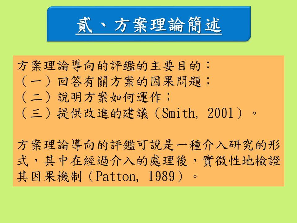 貳、方案理論簡述貳、方案理論簡述 方案理論導向的評鑑的主要目的: (一)回答有關方案的因果問題; (二)說明方案如何運作; (三)提供改進的建議(Smith, 2001)。 方案理論導向的評鑑可說是一種介入研究的形 式,其中在經過介入的處理後,實徵性地檢證 其因果機制(Patton, 1989)。