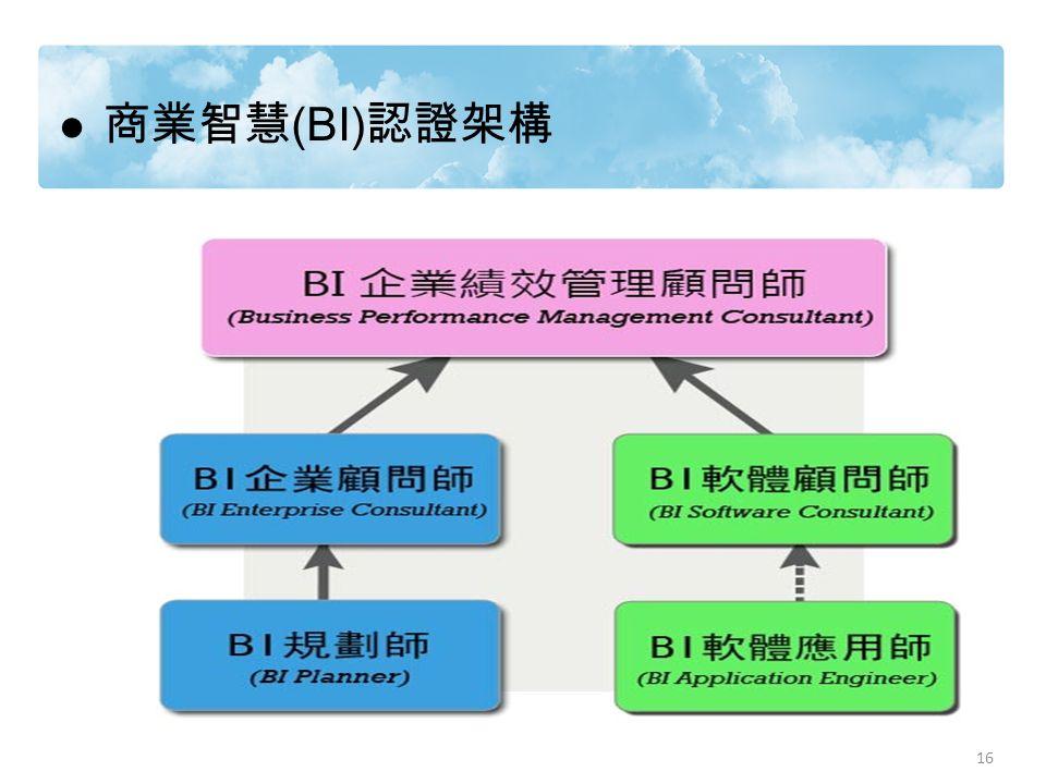 16 商業智慧 (BI) 認證架構 16