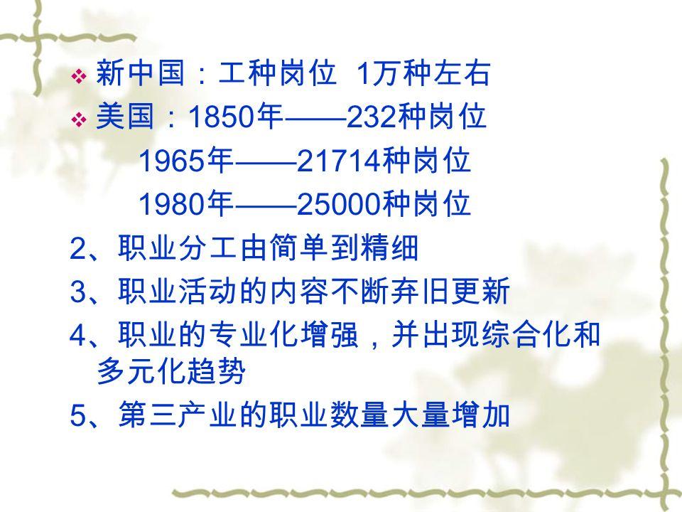  新中国:工种岗位 1 万种左右  美国: 1850 年 ——232 种岗位 1965 年 ——21714 种岗位 1980 年 ——25000 种岗位 2 、职业分工由简单到精细 3 、职业活动的内容不断弃旧更新 4 、职业的专业化增强,并出现综合化和 多元化趋势 5 、第三产业的职业数量大量增加