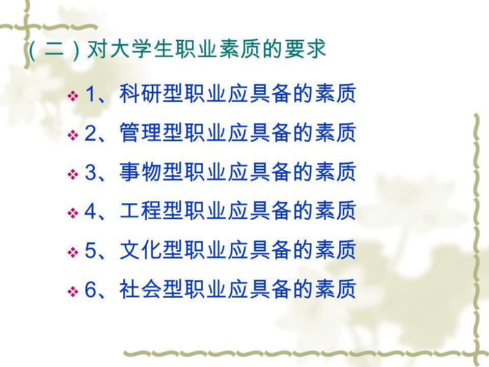 (二)对大学生职业素质的要求  1 、科研型职业应具备的素质  2 、管理型职业应具备的素质  3 、事物型职业应具备的素质  4 、工程型职业应具备的素质  5 、文化型职业应具备的素质  6 、社会型职业应具备的素质