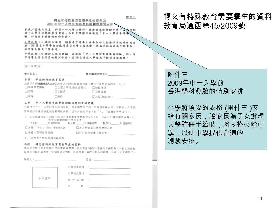 11 EDB 20090911 附件三 2009 年中一入學前 香港學科測驗的特別安排 小學將填妥的表格 ( 附件三 ) 交 給有關家長,讓家長為子女辦理 入學註冊手續時,將表格交給中 學,以便中學提供合適的 測驗安排。 轉交有特殊教育需要學生的資料 教育局通函第 45/2009 號