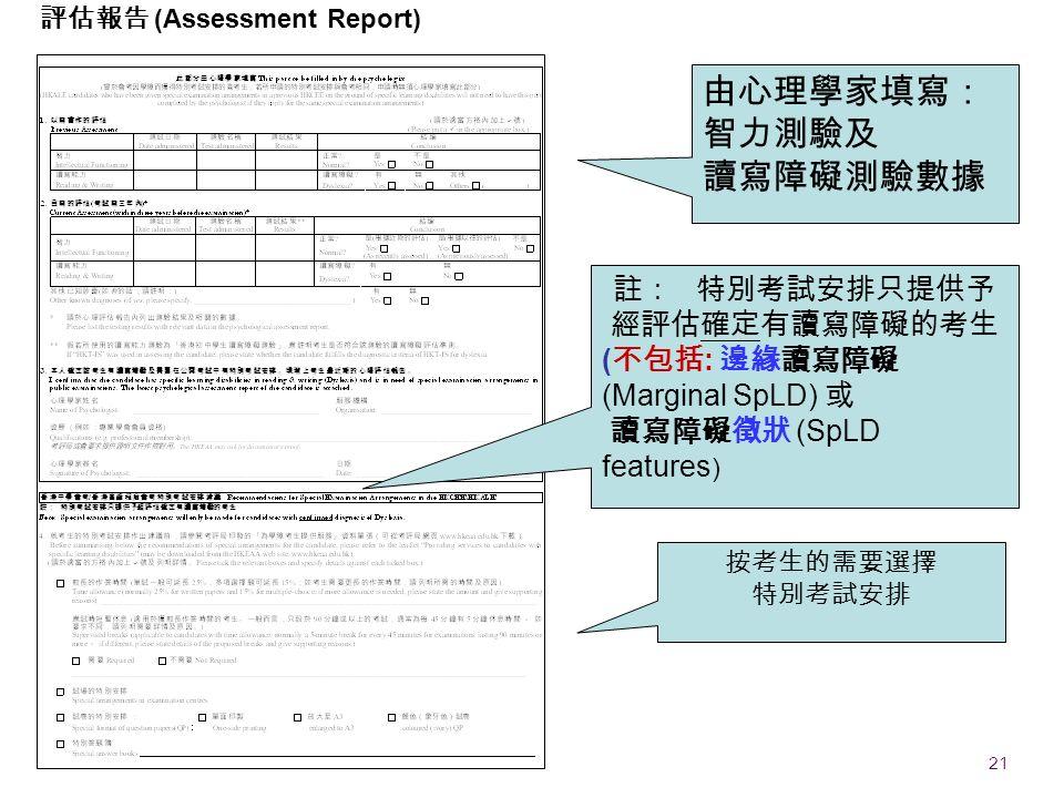 21 EDB 20090911 註: 特別考試安排只提供予 經評估確定有讀寫障礙的考生 ( 不包括 : 邊緣讀寫障礙 (Marginal SpLD) 或 讀寫障礙徵狀 (SpLD features ) 按考生的需要選擇 特別考試安排 由心理學家填寫: 智力測驗及 讀寫障礙測驗數據 評估報告 (Assessment Report)