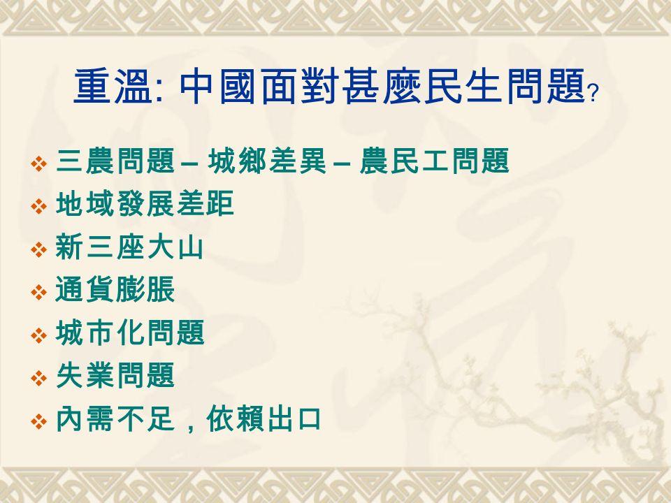 重溫 : 中國面對甚麼民生問題﹖  三農問題 – 城鄉差異 – 農民工問題  地域發展差距  新三座大山  通貨膨脹  城市化問題  失業問題  內需不足,依賴出口