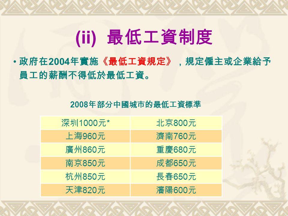 (ii) 最低工資制度 政府在 2004 年實施《最低工資規定》,規定僱主或企業給予 員工的薪酬不得低於最低工資。 深圳 1000 元 * 北京 800 元 上海 960 元濟南 760 元 廣州 860 元重慶 680 元 南京 850 元成都 650 元 杭州 850 元長春 650 元 天津 820 元瀋陽 600 元 2008 年部分中國城市的最低工資標準