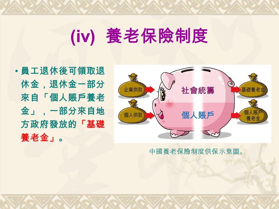 (iv) 養老保險制度 員工退休後可領取退 休金,退休金一部分 來自「個人賬戶養老 金」,一部分來自地 方政府發放的「基礎 養老金」。 中國養老保險制度供保示意圖。