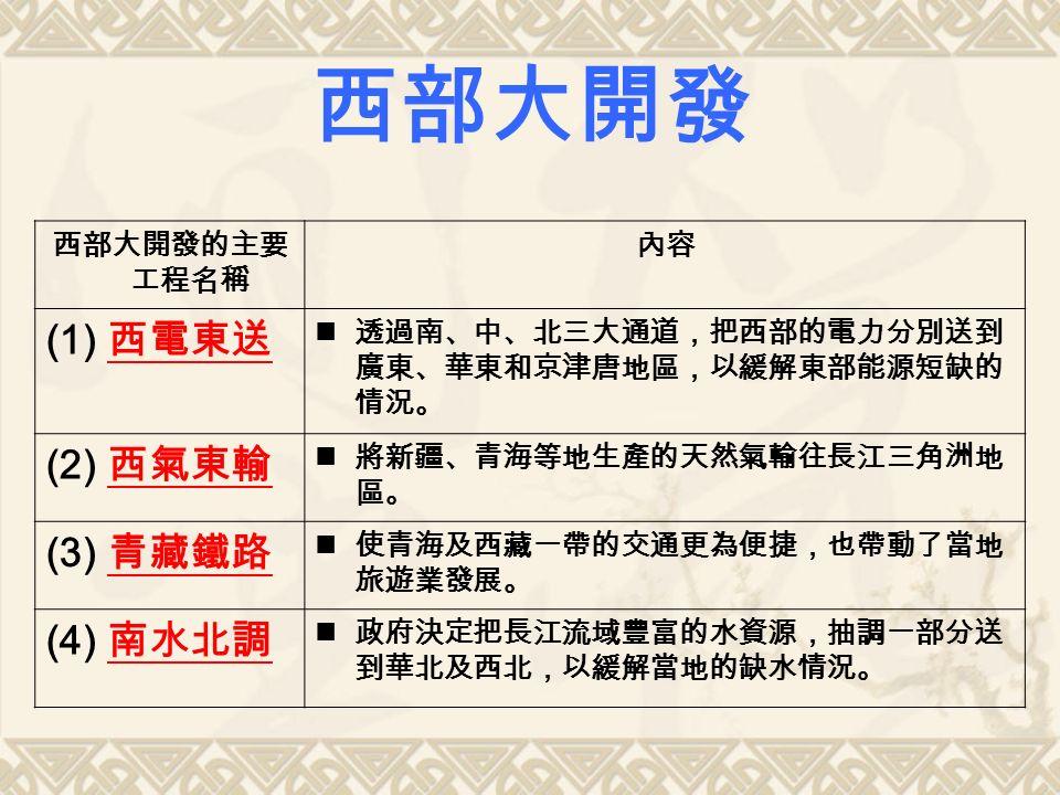西部大開發的主要 工程名稱 內容 (1) 西電東送 透過南、中、北三大通道,把西部的電力分別送到 廣東、華東和京津唐地區,以緩解東部能源短缺的 情況。 (2) 西氣東輸 將新疆、青海等地生產的天然氣輸往長江三角洲地 區。 (3) 青藏鐵路 使青海及西藏一帶的交通更為便捷,也帶動了當地 旅遊業發展。 (4) 南水北調 政府決定把長江流域豐富的水資源,抽調一部分送 到華北及西北,以緩解當地的缺水情況。 西部大開發