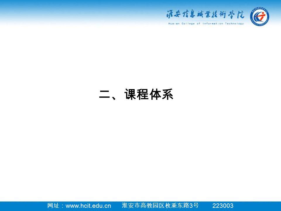 网址: www.hcit.edu.cn 淮安市高教园区枚乘东路 3 号 223003 二、课程体系