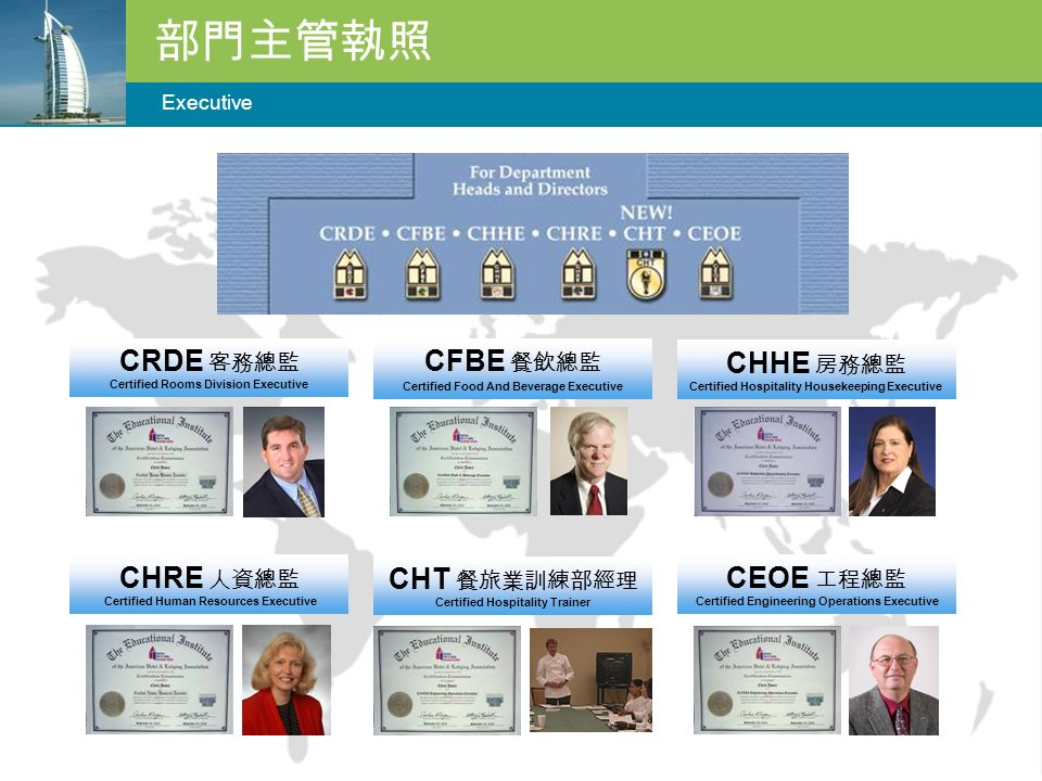 部門主管執照 Executive CRDE 客務總監 Certified Rooms Division Executive CFBE 餐飲總監 Certified Food And Beverage Executive CHHE 房務總監 Certified Hospitality Housekeeping Executive CHRE 人資總監 Certified Human Resources Executive CEOE 工程總監 Certified Engineering Operations Executive CHT 餐旅業訓練部經理 Certified Hospitality Trainer