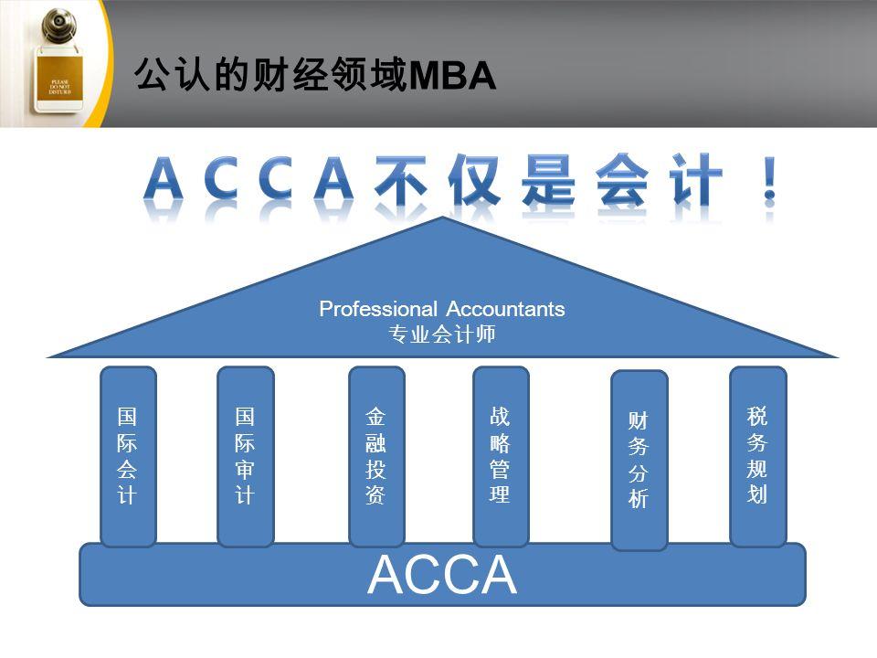 公认的财经领域 MBA ACCA 国际会计国际会计 国际审计国际审计 金融投资金融投资 战略管理战略管理 财务分析财务分析 税务规划税务规划 Professional Accountants 专业会计师