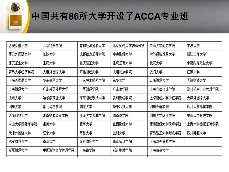 中国共有 86 所大学开设了 ACCA 专业班