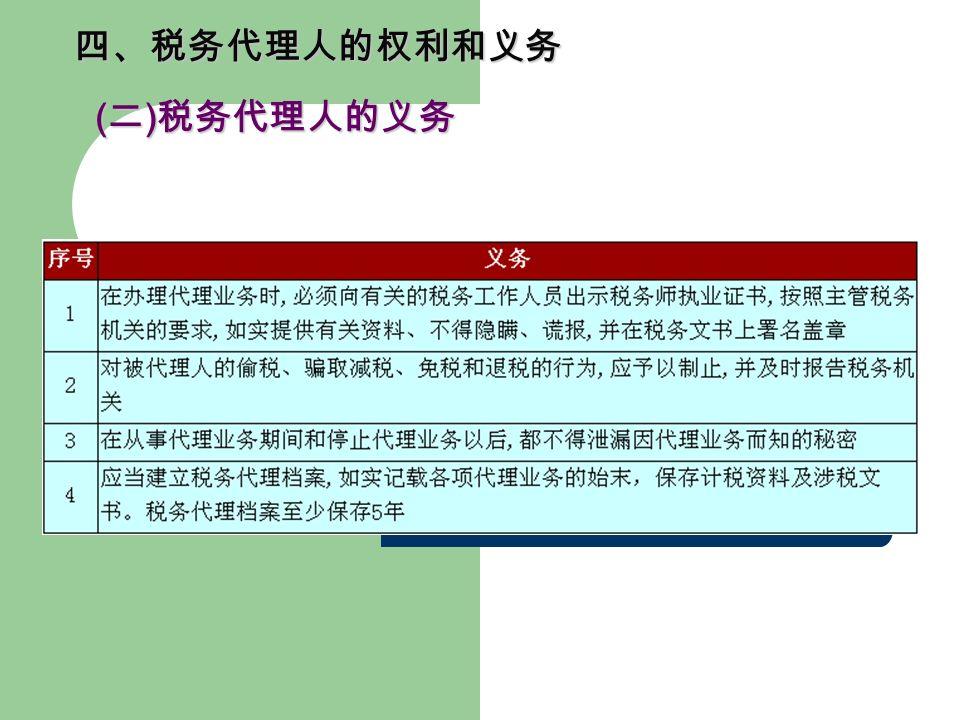 四、税务代理人的权利和义务 ( 二 ) 税务代理人的义务 ( 二 ) 税务代理人的义务