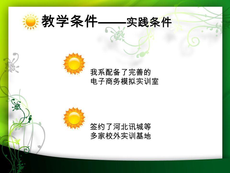 2016-7-1328 教学条件 —— 实践条件 我系配备了完善的 电子商务模拟实训室 签约了河北讯城等 多家校外实训基地