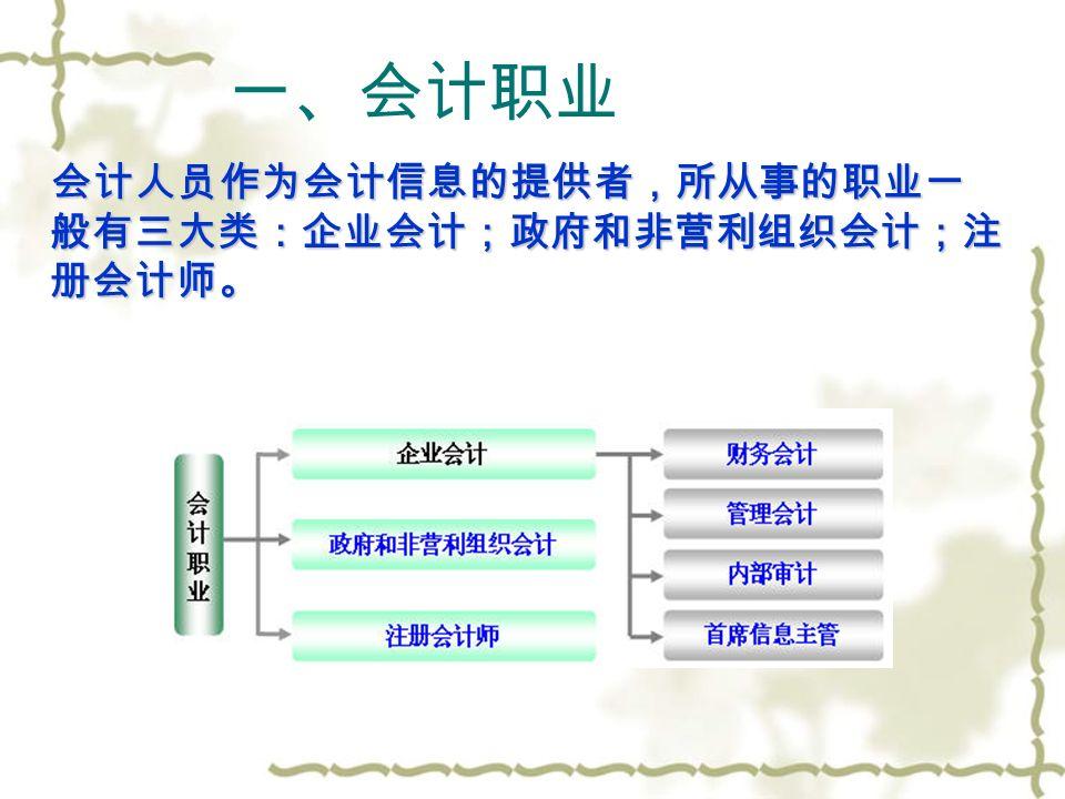 第六节 会计职业与管理 会计职业 会计机构与任职资格