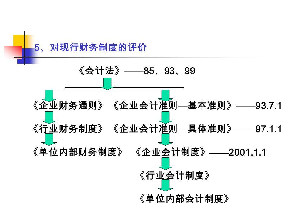 5 、对现行财务制度的评价 《会计法》 —— 85 、 93 、 99 《企业财务通则》 《企业会计准则 — 基本准则》 —— 93.7.1 《行业财务制度》 《企业会计准则 — 具体准则》 —— 97.1.1 《单位内部财务制度》 《企业会计制度》 —— 2001.1.1 《行业会计制度》 《单位内部会计制度》