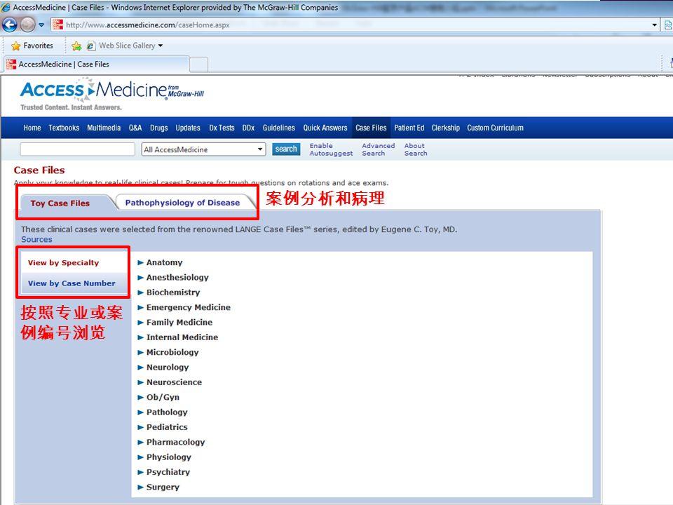案例分析和病理 按照专业或案 例编号浏览