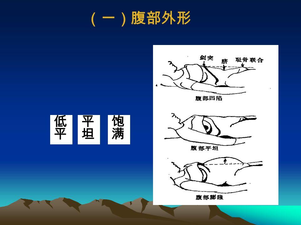 视诊的主要内容包括 (一)腹部外形 (二)腹壁皮肤 (三)呼吸运动 (四)腹壁静脉 (五)脐部 (六)胃肠型及蠕动波外形 (七)上腹部搏动