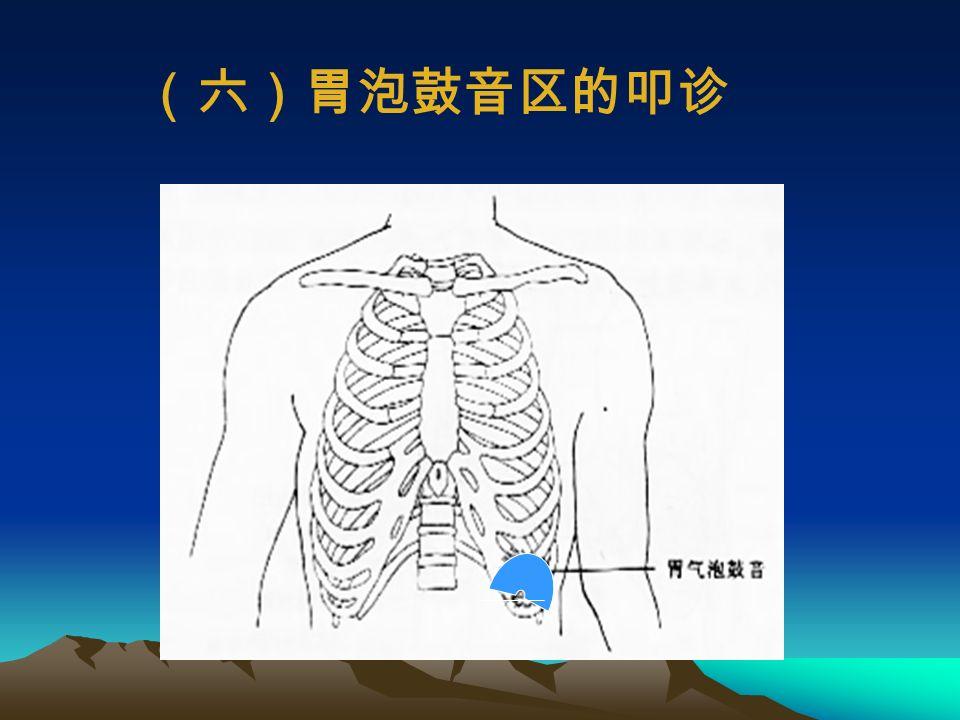 (五)脾叩诊 左腋中线 : 脾浊音区第 9 ~ 11 肋间 宽度:约为 4 ~ 7cm 前方: ≯腋前线 后方:≯腋后线 脾浊音区扩大: 各种原因所致脾肿大 脾浊音区缩小: 左侧气胸、胃扩张等