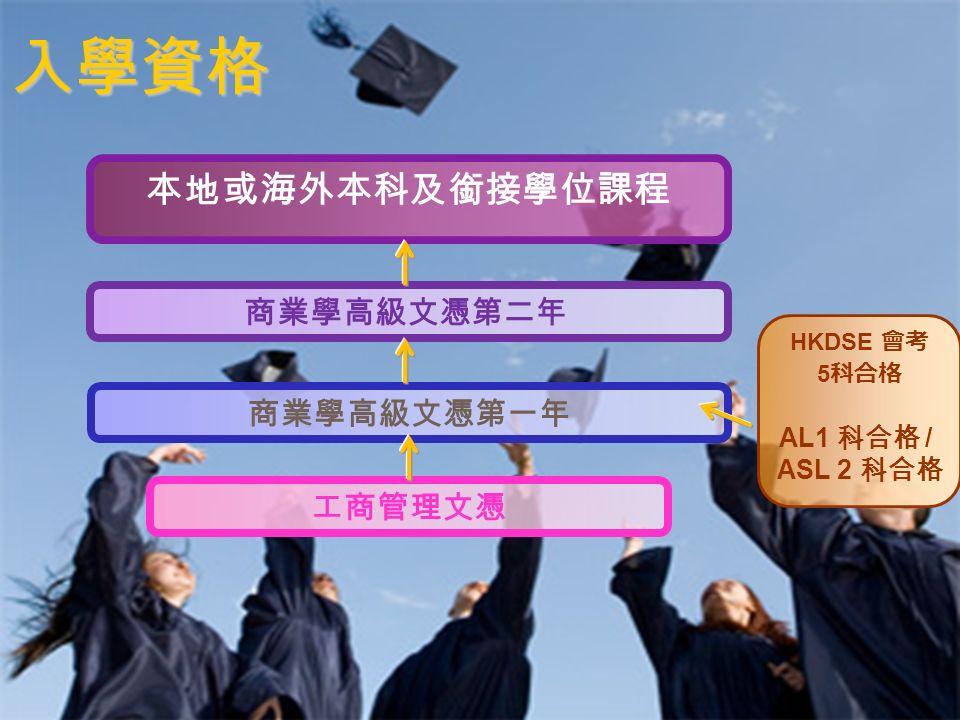12 入學資格 工商管理文憑 商業學高級文憑第一年 商業學高級文憑第二年 本地或海外本科及銜接學位課程 HKDSE 會考 5 科合格 AL1 科合格 / ASL 2 科合格