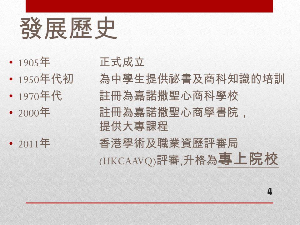 發展歷史 1905 年正式成立 1950 年代初 為中學生提供祕書及商科知識的培訓 1970 年代註冊為嘉諾撒聖心商科學校 2000 年 註冊為嘉諾撒聖心商學書院, 提供大專課程 2011 年 香港學術及職業資歷評審局 (HKCAAVQ) 評審, 升格為 專上院校 4