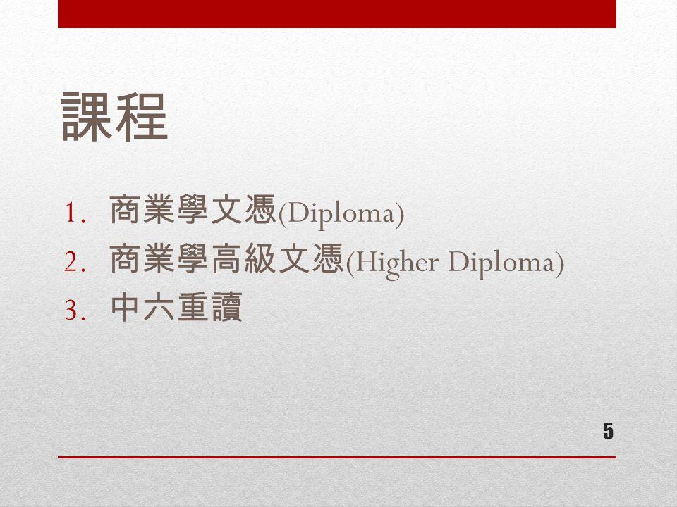 課程 1. 商業學文憑 (Diploma) 2. 商業學高級文憑 (Higher Diploma) 3. 中六重讀 5