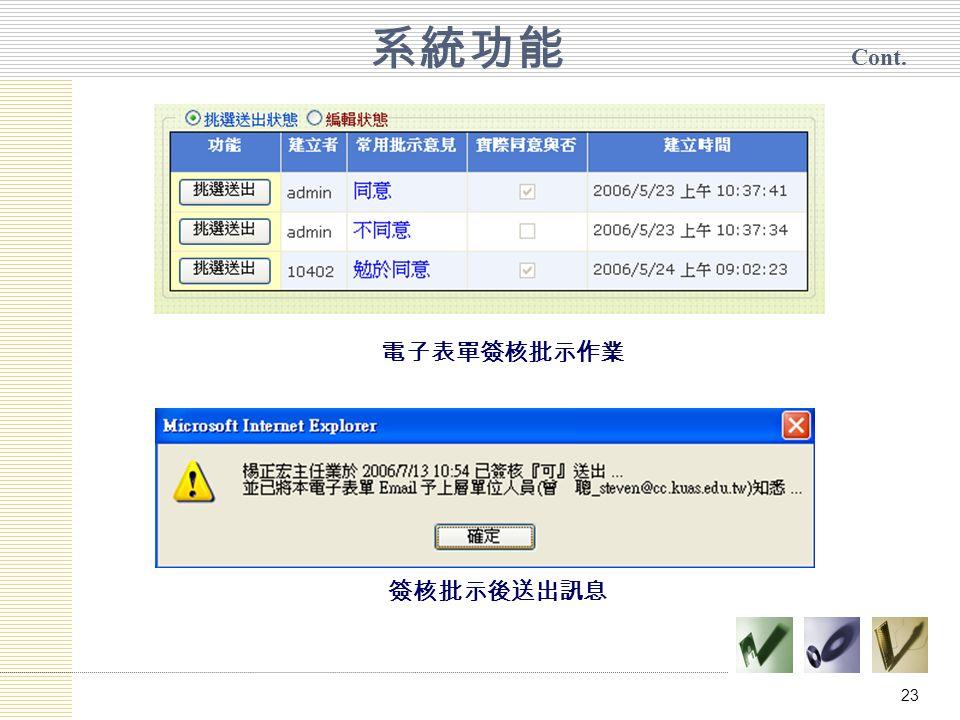 23 系統功能 Cont. 電子表單簽核批示作業 簽核批示後送出訊息