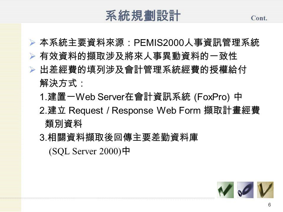 6  本系統主要資料來源: PEMIS2000 人事資訊管理系統  有效資料的擷取涉及將來人事異動資料的一致性  出差經費的填列涉及會計管理系統經費的授權給付 解決方式: 1.