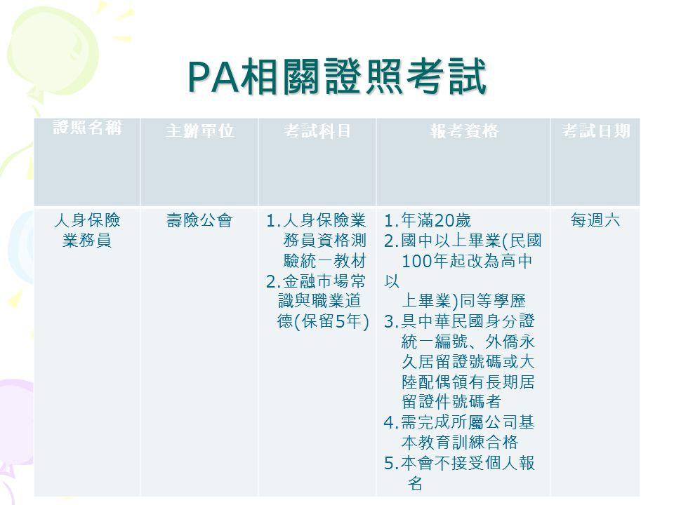 PA 相關證照考試 證照名稱 主辦單位考試科目報考資格考試日期 人身保險 業務員 壽險公會 1. 人身保險業 務員資格測 驗統一教材 2.