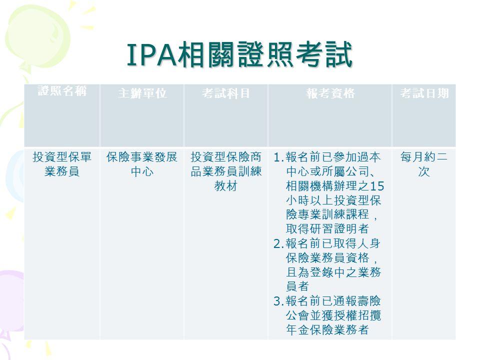 IPA 相關證照考試 證照名稱 主辦單位考試科目報考資格考試日期 投資型保單 業務員 保險事業發展 中心 投資型保險商 品業務員訓練 教材 1.