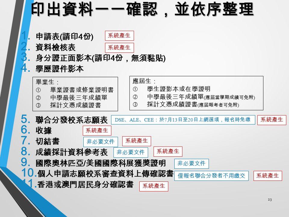 23 印出資料一一確認,並依序整理 1. 申請表 ( 請印 4 份 ) 2. 資料檢核表 3. 身分證正面影本 ( 請印 4 份,無須黏貼 ) 4.