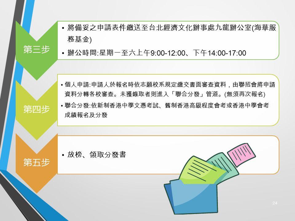 24 第三步 將備妥之申請表件繳送至台北經濟文化辦事處九龍辦公室 ( 海華服 務基金 ) 辦公時間 : 星期一至六上午 9:00-12:00 、下午 14:00-17:00 第四步 個人申請 : 申請人於報名時依志願校系規定繳交書面審查資料,由聯招會將申請 資料分轉各校審查。未獲錄取者則進入「聯合分發」管道。 ( 無須再次報名 ) 聯合分發 : 依新制香港中學文憑考試、舊制香港高級程度會考或香港中學會考 成績報名及分發 第五步 放榜、領取分發書
