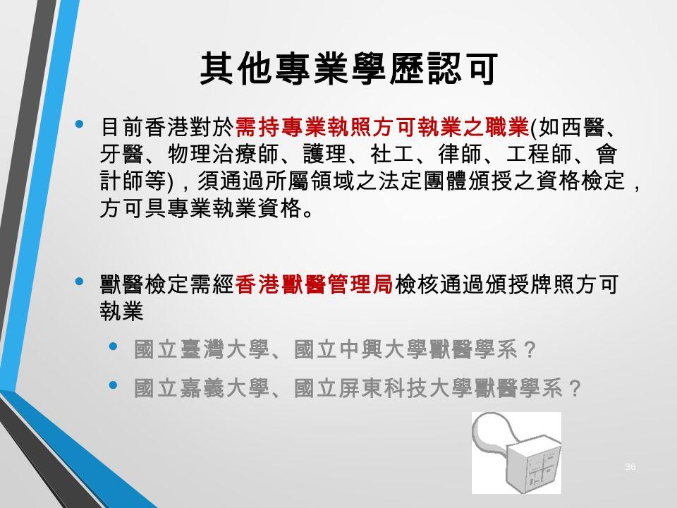 其他專業學歷認可 目前香港對於需持專業執照方可執業之職業 ( 如西醫、 牙醫、物理治療師、護理、社工、律師、工程師、會 計師等 ) ,須通過所屬領域之法定團體頒授之資格檢定, 方可具專業執業資格。 獸醫檢定需經香港獸醫管理局檢核通過頒授牌照方可 執業 國立臺灣大學、國立中興大學獸醫學系? 國立嘉義大學、國立屏東科技大學獸醫學系? 36